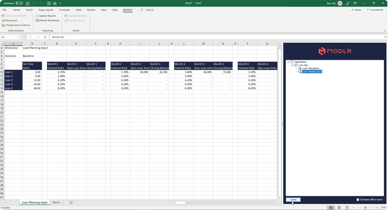 Integrate MODLR's management reporting solution with Excel